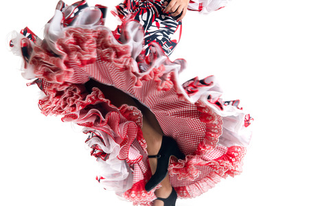 spanish girl: Feet detail of Flamenco dancer in beautiful dress on white background
