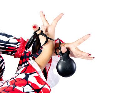 danseuse flamenco: Mains détail de danseur de flamenco dans la belle robe sur fond blanc Banque d'images