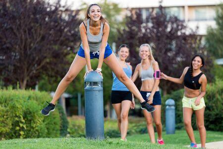 fun: Outdoor portrait of running girls having fun in the park.