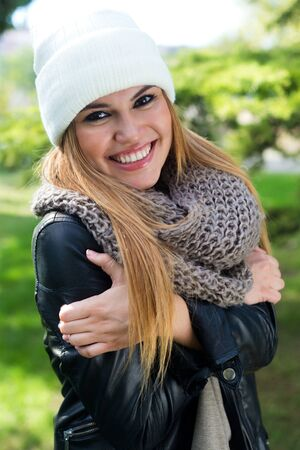 spaniard: Outdoor fashion portrait of beautiful girl in the city. Stock Photo