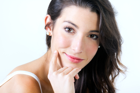 Portrait of beautiful young woman looking at camera Imagens