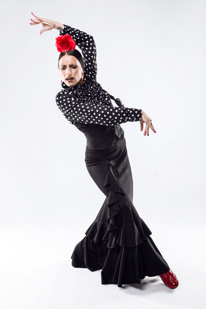 Portrait of pretty young flamenco dancer in beautiful dress.