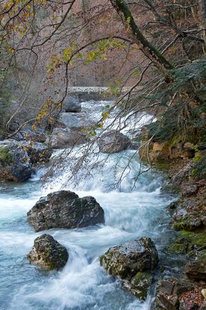 Autumn landscape in Ordesa National Park, Pyrenees, Huesca, Aragon, Spain