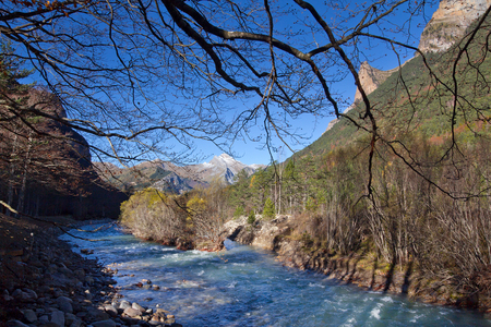 Autumn landscape in Ordesa National Park, Pyrenees, Huesca, Aragon, Spain