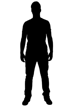 Portrait of standing boys silhouette.