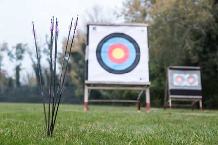 Portrait of outdoor archery targets on grass field surrounded by forest.