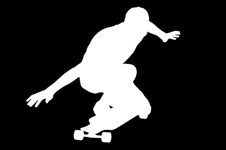 Portrait of silhouettes of skater boy. 写真素材