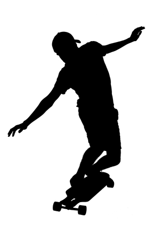 Portrait of silhouettes of skater boy. Stock Photo