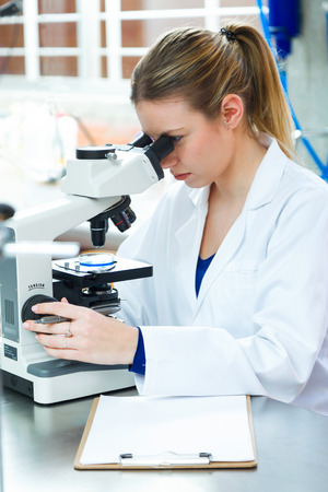 Portrait of young woman looking through microscope in laboratory.