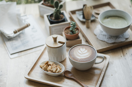 capucinno: Cup of coffee latte art in coffee shop on thailand Japanesshipster Style