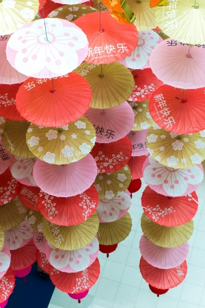 paper umbrellas for Chinese New Year photo