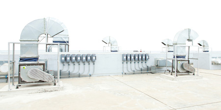 mechanical ventilation: Huge motor blower for chiller and circuit breakers Stock Photo