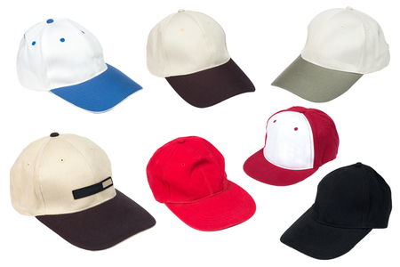 Collection of baseball caps isolated on a white background  photo