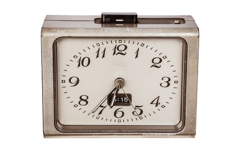 Vintage alarm clock isolated on white background photo