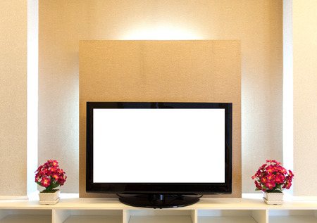 tv stand: Modern TV stand with shelves on the Brownish wall Stock Photo