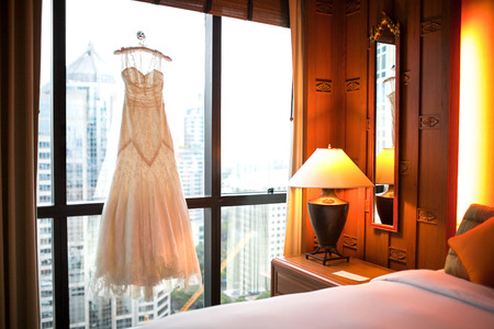 The Wedding Dress hanging at the window photo