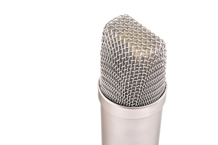 condenser: Close up condenser microphone isolated on a white background Stock Photo