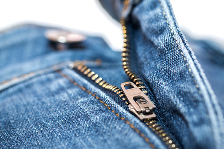 Blue Jean zipper with texture closeup view Stock Photo - 29085444