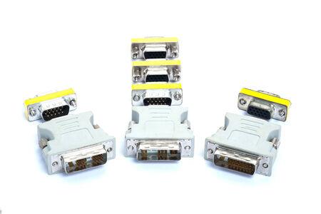 vga: VGA al convertidor de visualizaci�n DVI aislado en el fondo blanco