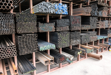 Group of steel bar components in a construction Stock Photo