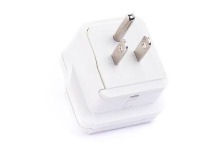 Close up Asia adapter plug isolated on white background