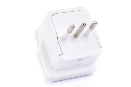 Close up European adapter plug isolated on white background