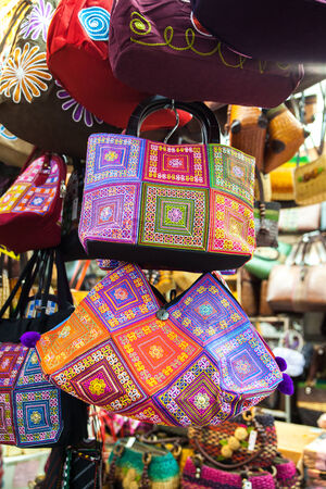 Group of different traditional hand-made bag thai designs. Stock Photo