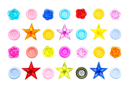 collection of colorful various sewing button. isolated on white background