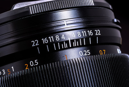close-up of the fast lens aperture and focusing ring