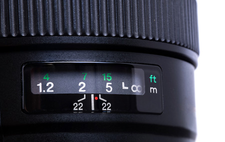 Close - up of camera lens aperture scale isolated on white background