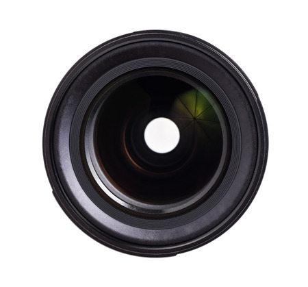 Close up Camera lens front sight.  isolated on white background