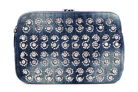 Blue jeans women bag decorated with diamond isolated at white background