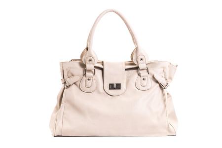 Luxury leather female handbag isolated on white background