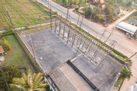 Sub station  22 kV outdoor type  bird eye view  photo