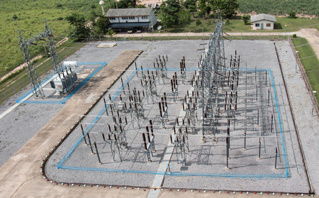 sub station: Sub station 115 22 kV outdoor type bird eye view from antennan tower 32 meter