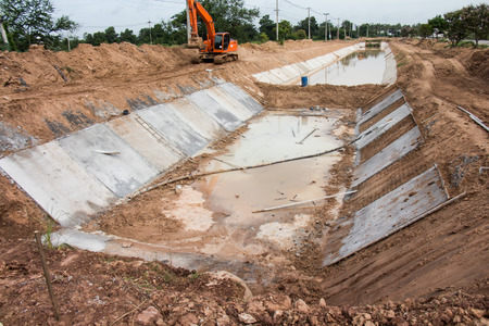 runoff: Concret water canal for urban drainage system and drain flood control