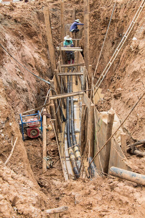 cross linked: Substation construction ; Distribution under ground system pass through under the road