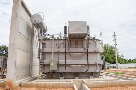 Power transformer in new sub station 115 kv 22 kv wait for wiring Banco de Imagens