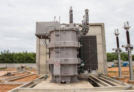sub station: Power transformer in new sub station 115 kv 22 kv wait for wiring Stock Photo
