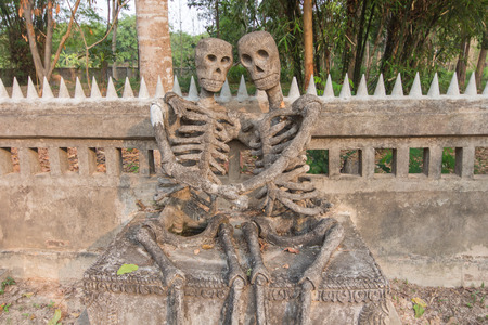 Skeleton statue people with Love ; Show your love for each other. Indeed, just a skeleton held together only photo