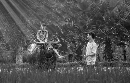 Happy farmer family;Father will keep Buffalo So that children ride buffalos first. photo