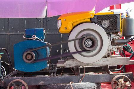 alternator: Running enerators adapted from tractor Stock Photo