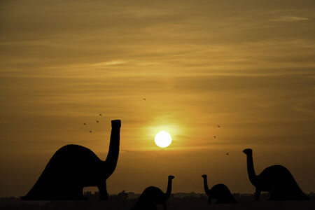 brontosaurus: Brontosaurus dinosaurs and the atmosphere in the evening sunset Stock Photo