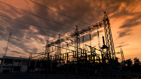 Sub station 11522 kV outdoor type silhouette photo