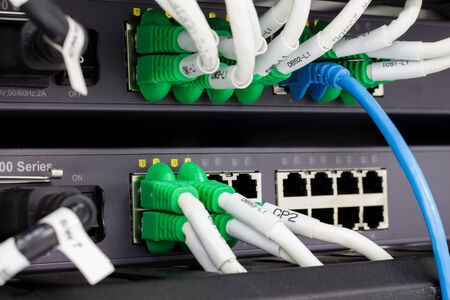 Local area network switch (LAN) cables on panel borad photo