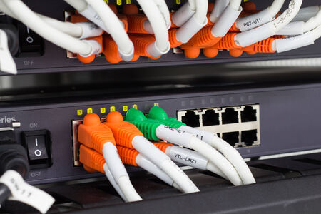 utp: Local area network switch (LAN) cables on panel borad