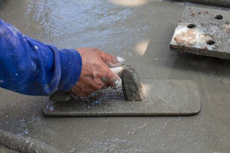 construction plant: plasterer concrete worker at construction plant Stock Photo