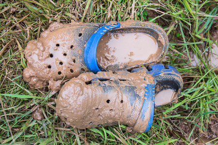 specific clothing: Dirty shoes