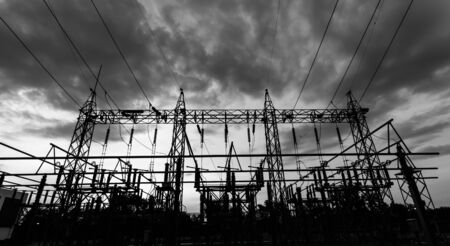 sub station: Sub station 11522 kV outdoor type black and white