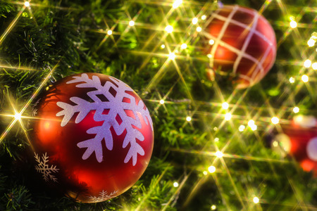 Christmas background with a red ornament photo